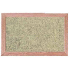 Burlap Weave Vinyl Bulletin Board with Red Oak Frame and Clear Lacquer Finish - Coffee Cream - 12