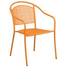 Orange Indoor-Outdoor Steel Patio Arm Chair with Round Back