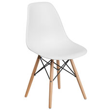 Elon Series White Plastic Chair with Wood Base