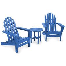 POLYWOOD® Classic Folding Adirondack 3-Piece Set - Vibrant Pacific Blue