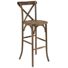HERCULES Series Dark Antique Wood Cross Back Barstool