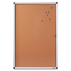 Lorell Enclosed Bulletin Board - Cork - 24''W x 36''L - Natural/ Aluminum Frame