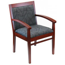 Tea Indoor Office Chair with Gray Pattern Fabric Seat and Back - Mahogany Wood Finish