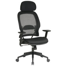 Space Air Grid Back Deluxe Task Chair with Mesh Seat and Adjustable Headrest - Black