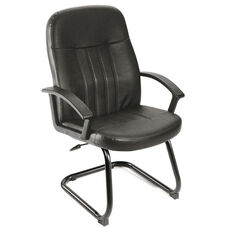 Executive LeatherPlus Budget Guest Chair with Arms - Black