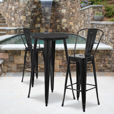 """Commercial Grade 24"""" Round Black Metal Indoor-Outdoor Bar Table Set with 2 Cafe Stools"""