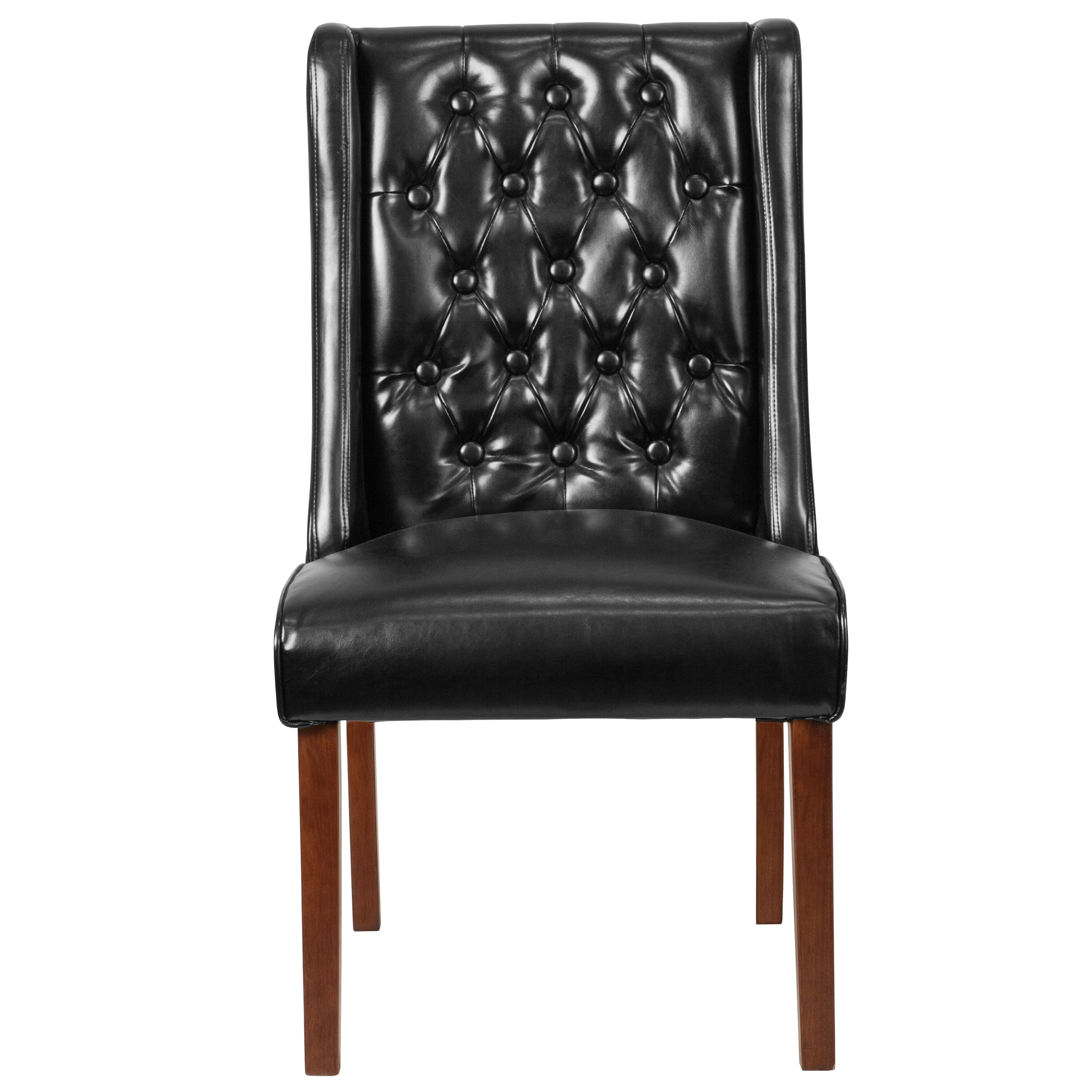 Our HERCULES Preston Series Black Leather Tufted Parsons Chair Is On Sale  Now.