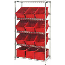 Stationary Slanted Wire Shelving with 8