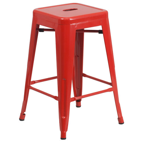"""Our Commercial Grade 24"""" High Backless Red Metal Indoor-Outdoor Counter Height Stool with Square Seat is on sale now."""