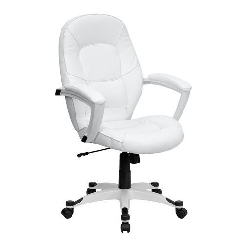 Our Mid-Back White LeatherSoft Tapered Back Executive Swivel Office Chair with White Base and Arms is on sale now.