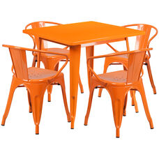 "Commercial Grade 31.5"" Square Orange Metal Indoor-Outdoor Table Set with 4 Arm Chairs"