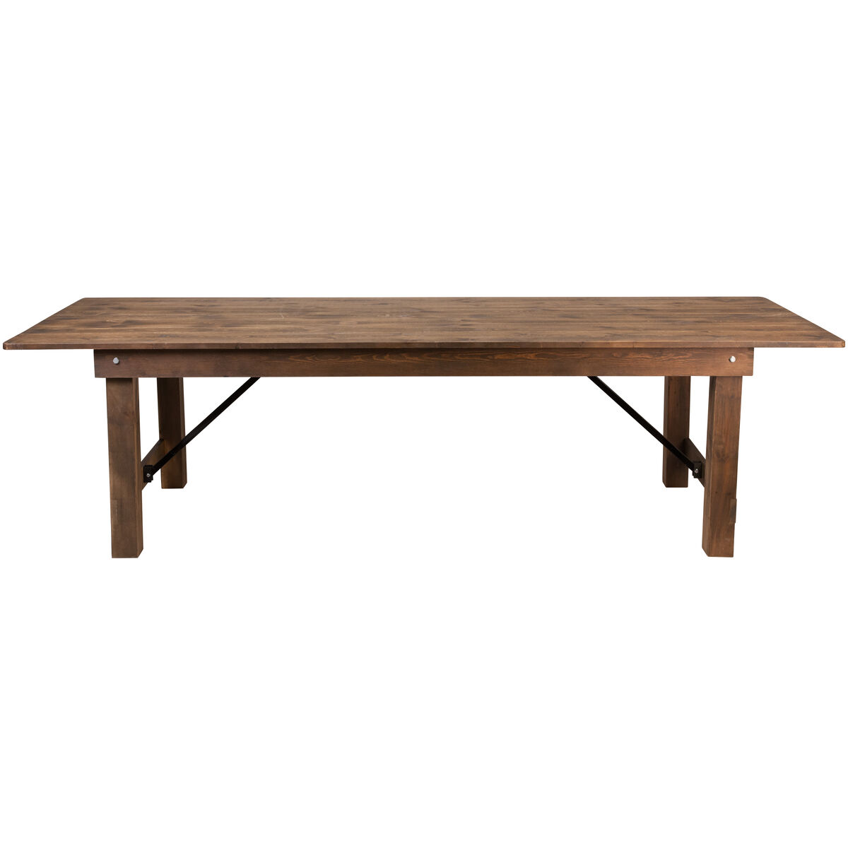 Our Hercules Series 9 X 40 Rectangular Antique Rustic Solid Pine Folding Farm Table