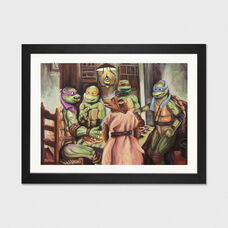 The Pizza Eaters by Hillary White Artwork on Fine Art Paper with Black Matte Hardwood Frame - 32