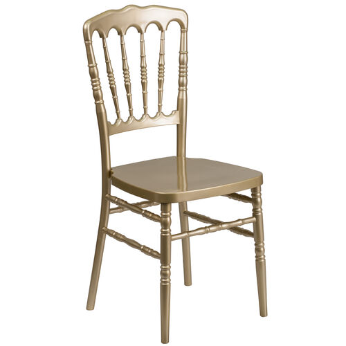 "Our HERCULES Series Gold Resin Stacking Napoleon Chair with <span style=""color:#0000CD;"">Free </span> Cushion is on sale now."