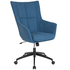 Barcelona Home and Office Upholstered High Back Chair in Blue Fabric