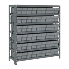 7 Shelf Open Unit with 54 Drawers - Gray