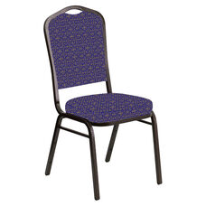 Embroidered Crown Back Banquet Chair in Abbey Jazz Fabric - Gold Vein Frame
