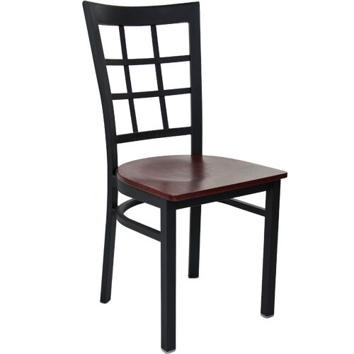 Advantage Black Metal Window Pane Back Chair - Mahogany Wood Seat