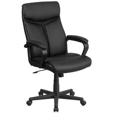 High Back Black LeatherSoft Executive Swivel Office Chair with Slight Mesh Accent and Arms