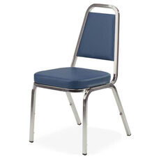 Lorell Blue Vinyl Upholstered Stack Chairs - Set of 4