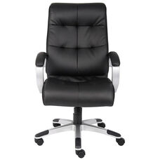 Double Plush High Back Executive Chair with Padded Arms - Black