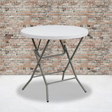 2.63-Foot Round Granite White Plastic Folding Table
