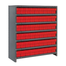 7 Shelf Closed Unit with 54 Drawers - Red