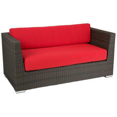 Crystal Beach Collection Outdoor Wicker Love Seat with Arms and Sunbrella Cushions - Indo