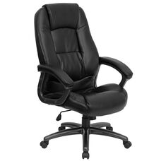 High Back Black Leather Executive Swivel Ergonomic Office Chair with Deep Curved Lumbar and Arms