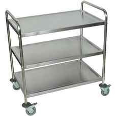 Large Stainless Steel 3 Shelf Mobile Utility Cart - 33.5