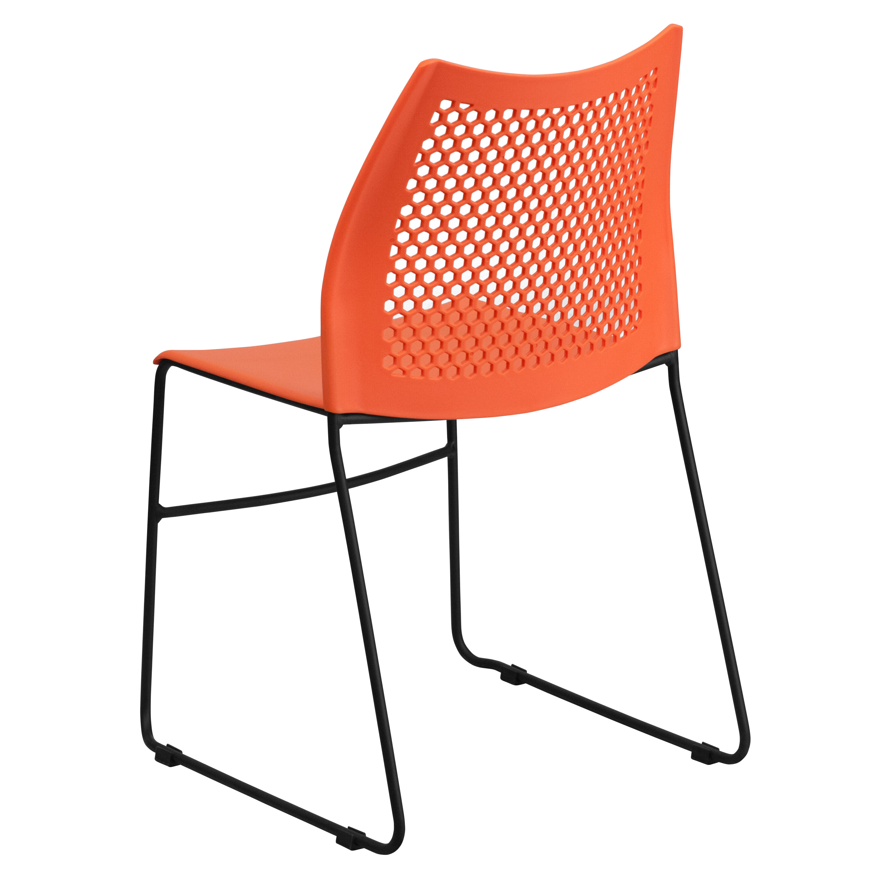 ... Our HERCULES Series 661 Lb. Capacity Orange Sled Base Stack Chair With  Air Vent ...