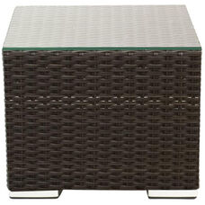 Crystal Beach Collection Outdoor Wicker End Table with Glass Top - Indo