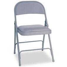 Alera® Steel Folding Chair w/Padded Seat- Gray- 4/Carton