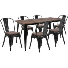 """30.25"""" x 60"""" Black Metal Table Set with Wood Top and 6 Stack Chairs"""