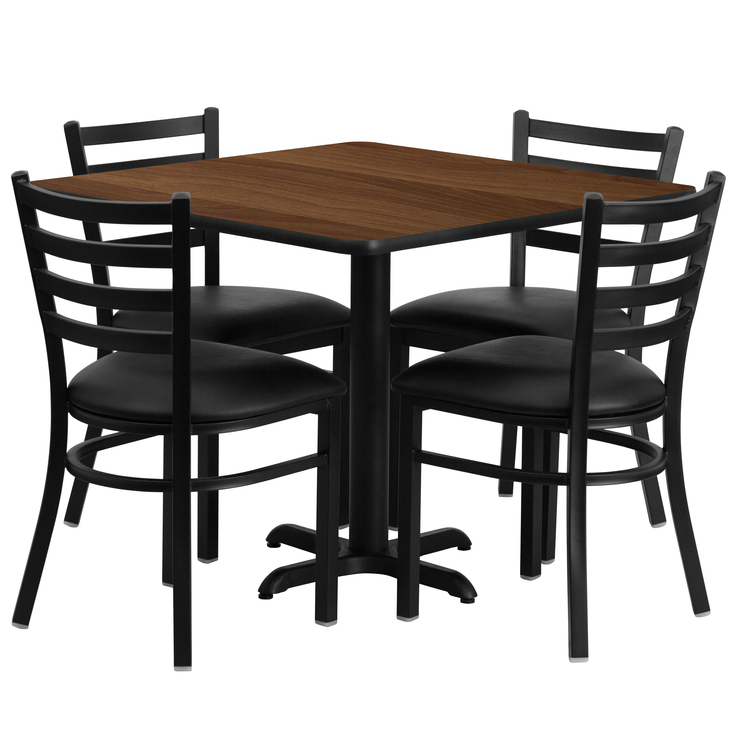 Ordinaire 36u0027u0027 Square Walnut Laminate Table Set With Ladder Back Metal Chair And  Black Vinyl Seat, Seats 4