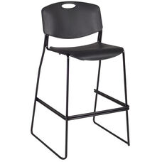 Zeng Armless Stackable Metal Frame Stool with Footrest - Black
