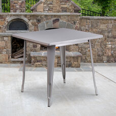 "Commercial Grade 31.5"" Square Silver Metal Indoor-Outdoor Table"