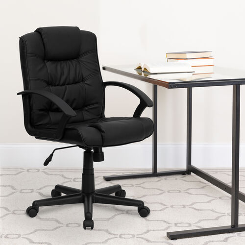 Our Mid-Back Black LeatherSoft Swivel Task Office Chair with Arms is on sale now.