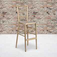 "HERCULES Series Gold Wood Chiavari Barstool with <span style=""color:#0000CD;"">Free </span> Cushion"