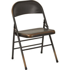 OSP Designs Bristow Distressed Steel Folding Chair - Set of 4 - Antique Copper