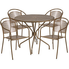 "Commercial Grade 35.25"" Round Gold Indoor-Outdoor Steel Patio Table Set with 4 Round Back Chairs"