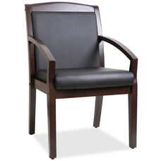 Lorell Espresso Wood Frame Guest Chair with Sloped Arms - Black Leather
