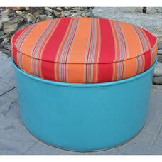 Santa Fe Steel Drum Ottoman with Multicolor Accents