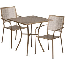 "Commercial Grade 28"" Square Gold Indoor-Outdoor Steel Patio Table Set with 2 Square Back Chairs"