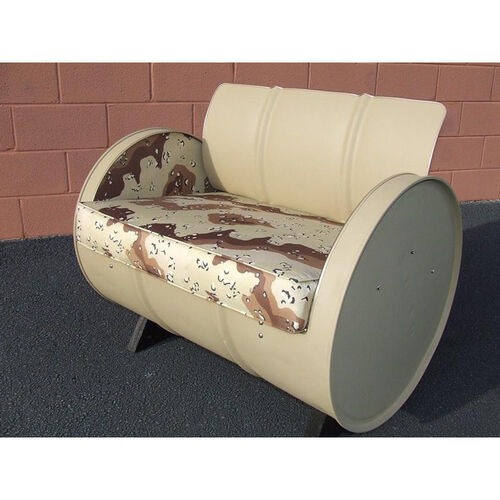 Our American Warrior Steel Drum Armchair with Military Camo Fabric Accents is on sale now.
