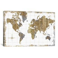Gilded Map by All That Glitters Gallery Wrapped Canvas Artwork