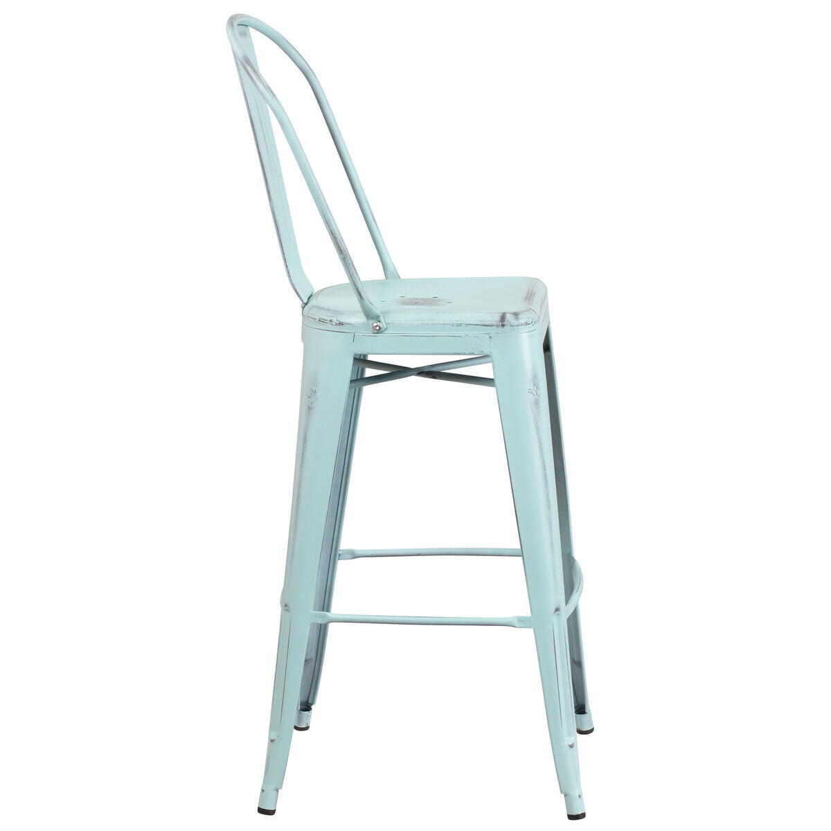 Distressed Gn-Blue Metal Stool ET-3534-30-DB-GG ...