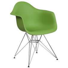 Alonza Series Green Plastic Chair with Chrome Base