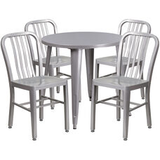 """Commercial Grade 30"""" Round Silver Metal Indoor-Outdoor Table Set with 4 Vertical Slat Back Chairs"""