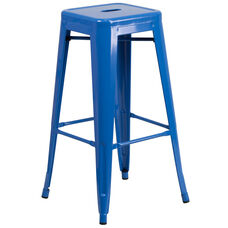 "Commercial Grade 30"" High Backless Blue Metal Indoor-Outdoor Barstool with Square Seat"